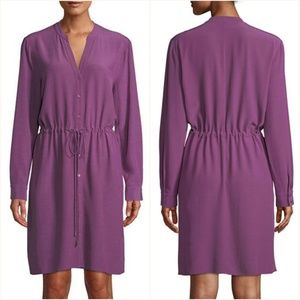 Petite Long-Sleeve Crepe Drawstring-Waist Dress